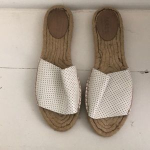 JCrew White Leather Perforated Flat Espadrilles 7